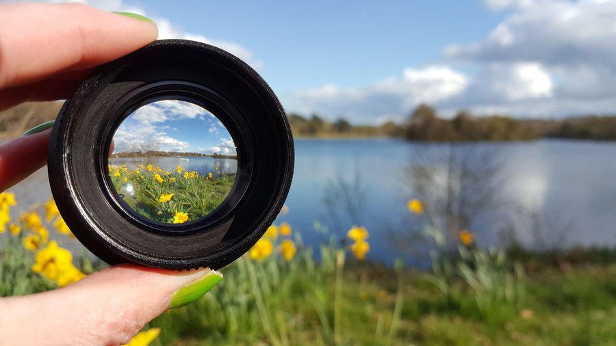 Cropped Hand Of Woman Holding Lens Against Yellow Daffodils And Lake