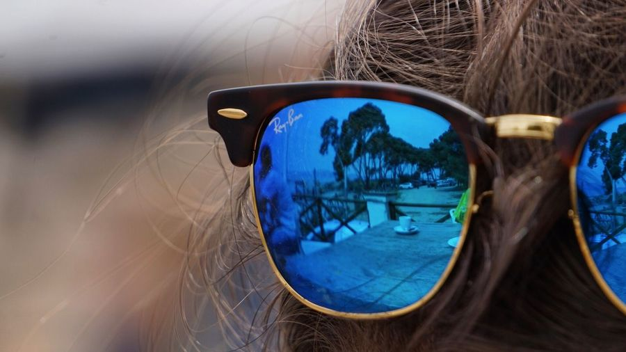 Reflection Glasses Sunglasses Fashion Reflection Blue Close-up Day Lifestyles Selective Focus Glass - Material Eyewear Nature Outdoors