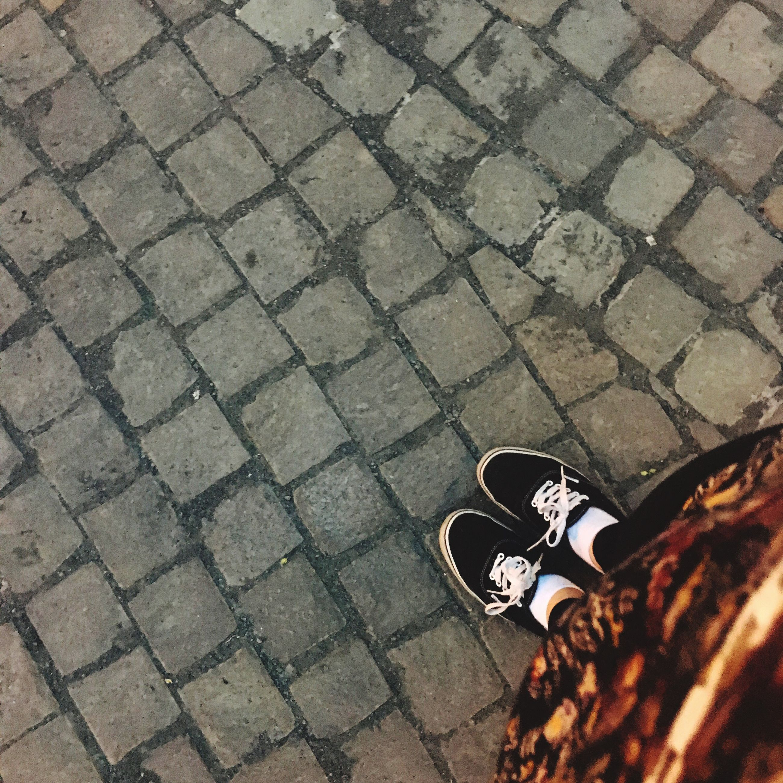 cobblestone, paving stone, street, high angle view, footpath, sidewalk, outdoors, pattern, shadow, day, sunlight, pavement, walkway, shoe, road, textured, bicycle, lifestyles