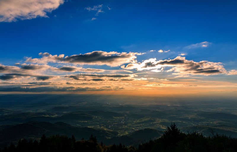 Aerial View Baden-Württemberg  Beauty In Nature Black Forest Blue Bluesky Cloud Cloud - Sky Countryside Day Dramatic Landscape Forest Green Landscape Mountain Nature No People Outdoors Physical Geography Sky Sunset Sunset_collection Südbaden