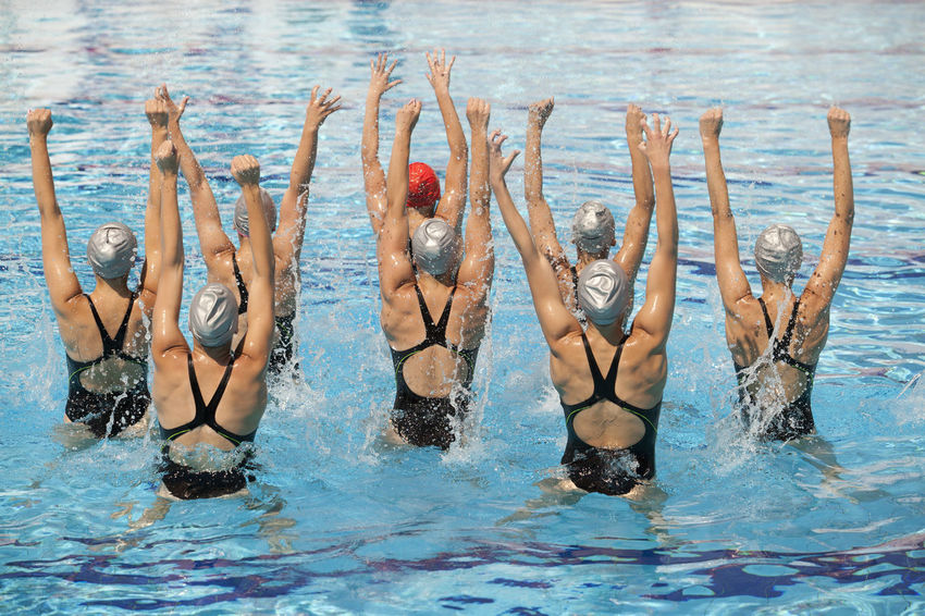 Synchronized swim team in the position with hands lifted. Jump Swimming Water Dance Women Sports Aquatic Sport Competition Coreography Group Of People Pool Position Splashing Sport Swimmer Swimming Swimming Pool Swimwear Synchronized Synchronized Swimming Team Teamwork United Water Water Ballet Watersports Young Women
