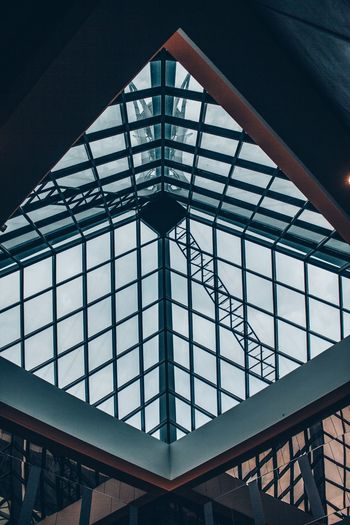 structure Built Structure Architecture Low Angle View Pattern No People Indoors  Metal Railing Glass - Material Day Design Transparent Ceiling Nature Architectural Feature Skylight Sky Sunlight Glass Girder