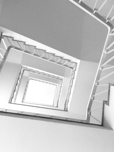 Black And White Staircase Spiral Steps And Staircases Built Structure Architecture Railing Spiral Staircase Pattern No People Low Angle View Indoors  Design Repetition Building Day Diminishing Perspective Shape Ceiling Directly Below