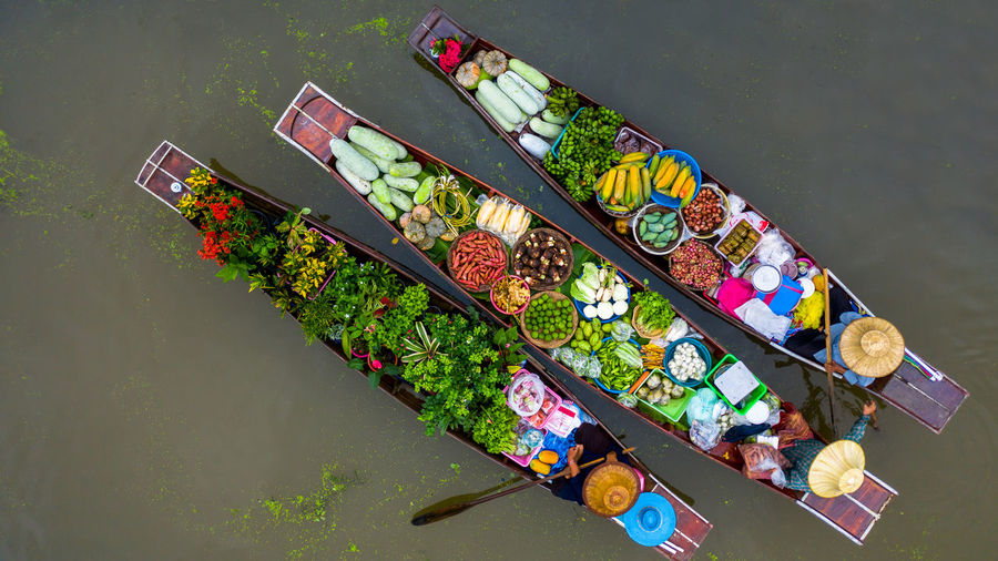 High angle view of various flowers on table