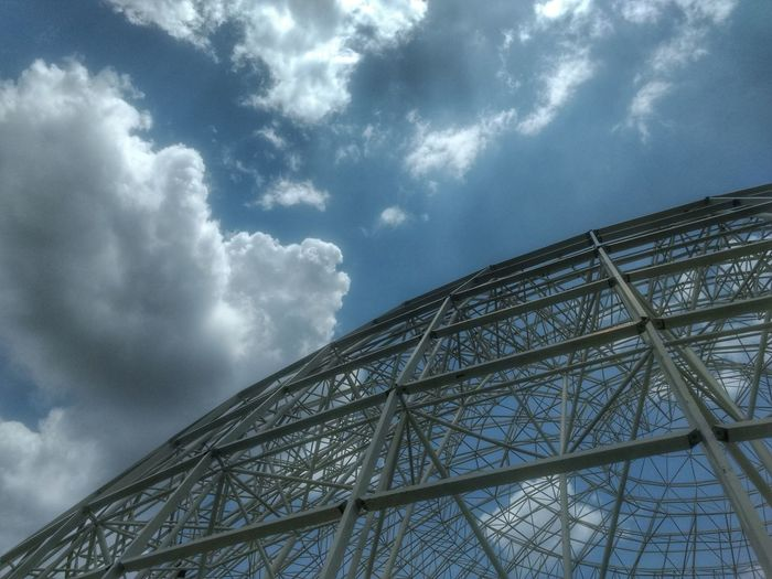 Sky is the limit. Or beyond? Cloud - Sky Sky No People Low Angle View Technology Outdoors Day EyeEm Selects Architecture Built Structure Complexity Blue No Filter Sky Frame Dome