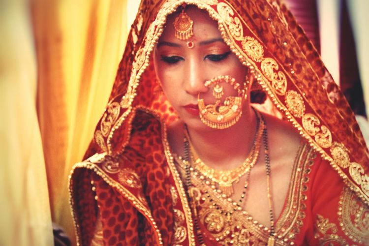 Close-up of young bride
