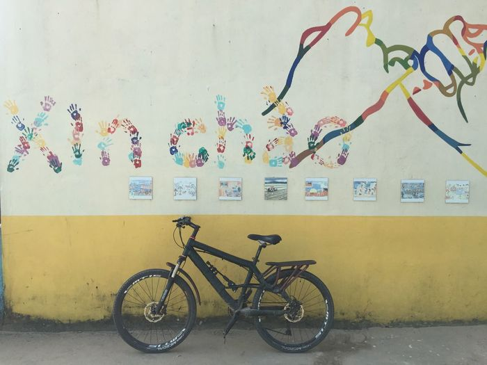 Bicycle Bicycle Rack Draw Drawing Graffiti Multi Colored Outdoors Transportation Wall - Building Feature