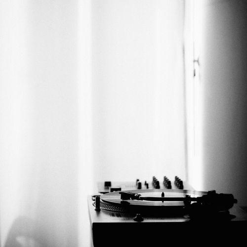 Still life turntable vinyl monochrome