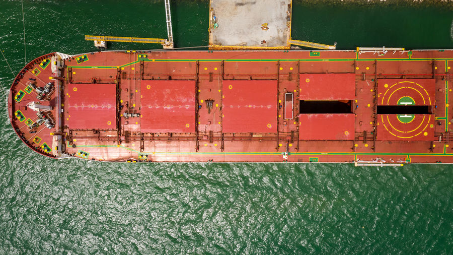 High angle view of red ship in sea