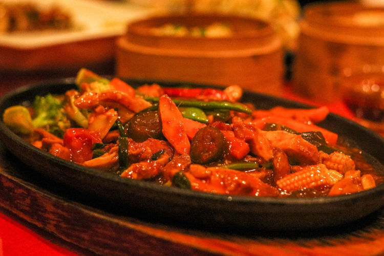 Close-up of meat served in plate