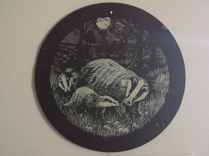 Etching Wall Hanging Animal Themes Badger Badger Family Badgers  Close-up Day Disc Gray Indoors  No People Rock Art Slate Slate Etching Studio Shot White Background Wildlife Etching