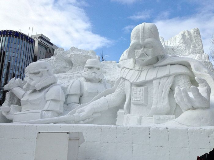 Hokkaido Japan Japan Star Wars Stormtrooper Architecture Darthvader Day Low Angle View Nature No People Outdoors Sapporo Sculpture Sky Snow Festival Snow Sculpture Statue