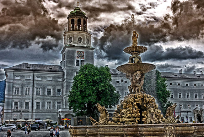 Austria ❤ Golden Fountain River Danube Saltzburg Salzburg Square Salzburg, Austria Dramatic Sky In Austria Sound Of Music