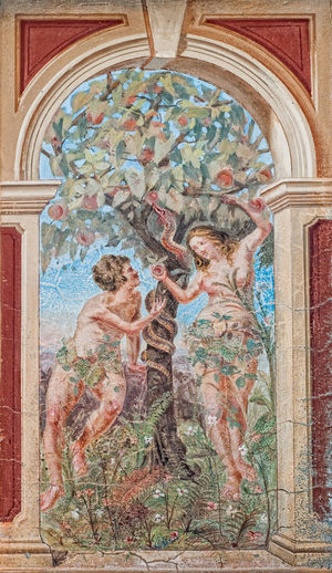Adam & Eve Adult Angel Arch Architecture Art And Craft Built Structure Female Likeness Fresco History Human Representation Indoors  Male Likeness Mural Paintings People Place Of Worship Religion Representation Standing The Past