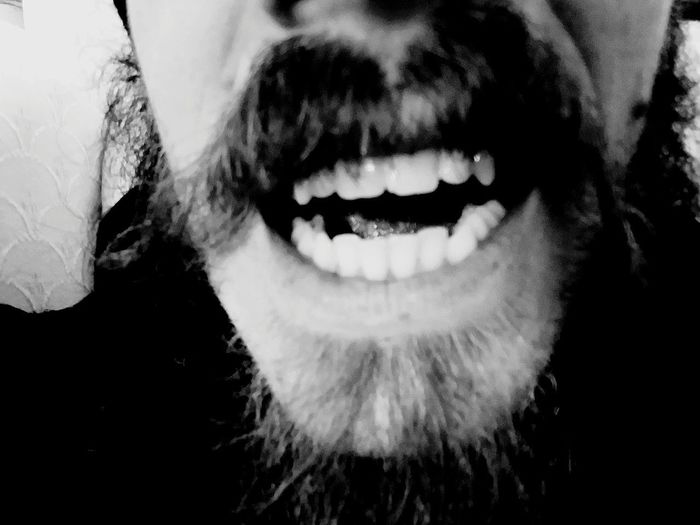Human Lips Human Face Close-up One Person Human Body Part Moustache Teeth Antiselfie Blackandwhite EyeEmNewHere Beard ExpressYourself Anti Selfie Welcome To Black Resist Resist!