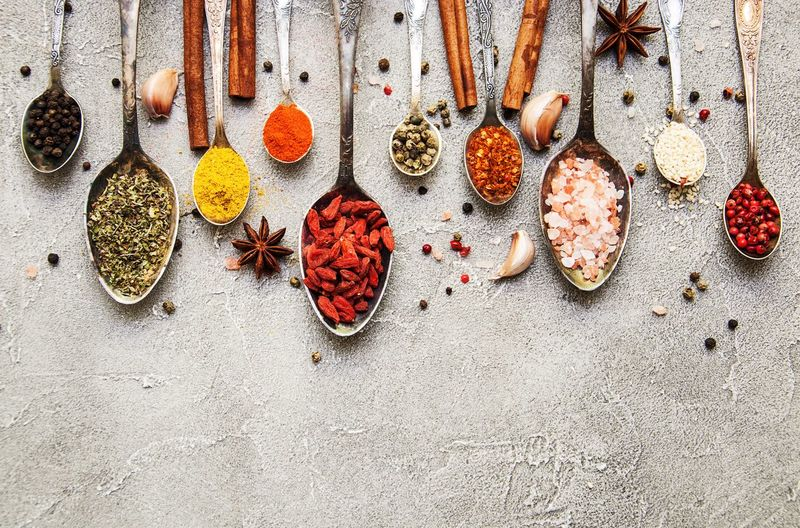 Spices Paprika Curry Goji Pepper Salt Spices Spoons EyeEm Selects No People Still Life High Angle View Day Outdoors Choice Variation Food Nature Food And Drink