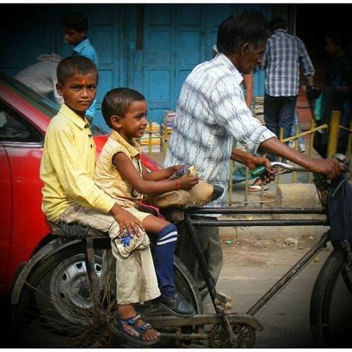 Streets of Delhi India Dehli Bicycle Children Travel