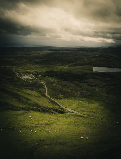 the meadows. Adventure Aerial View Beauty In Nature Cloud - Sky Day Freedom Green Color Herd Animal Isle Of Skye Landscape Nature No People Outdoors Peace Quiaraing Scenics Scotland Sea Sheep Silence Of Nature Sky