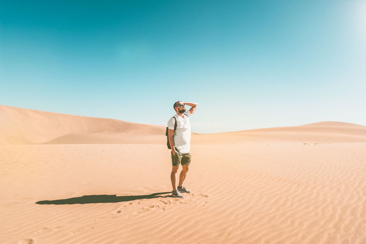 Maspalomas desert. Desert Maspalomas This Is Masculinity Wanderlust Adult Adults Only Arid Climate Clear Sky Day Desert Desert Beauty Full Length Landscape Model Modeling Nature One Person Outdoors People Real People Sand Sand Dune Standing Young Adult Young Women Go Higher My Best Photo