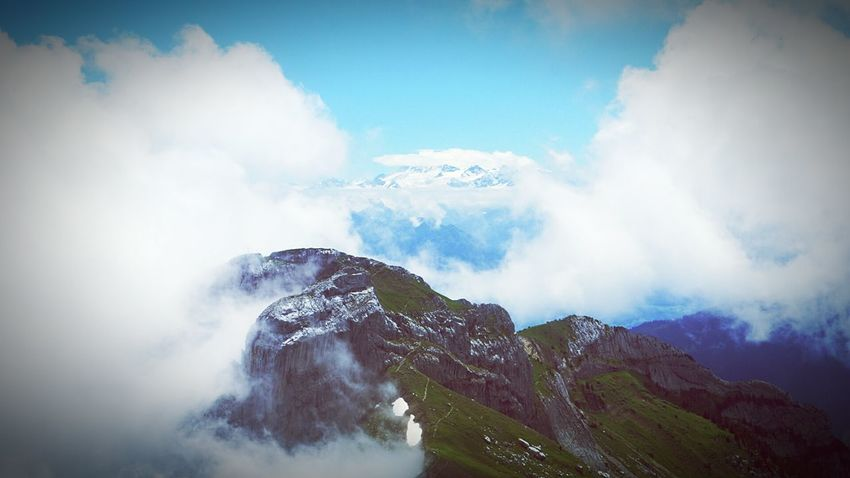 Up In The Clouds In The Distance Switzerland Pilatus Landscape Swiss Alps