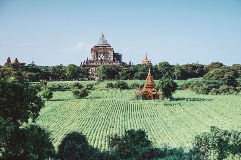Green field Landscape Myanmar Pagoda Myanmar View Pagoda Myanmarphotos History Architecture Architecture Built Structure Building Exterior Sky Plant Tree Travel Destinations Religion Travel Building Clear Sky Nature Tourism