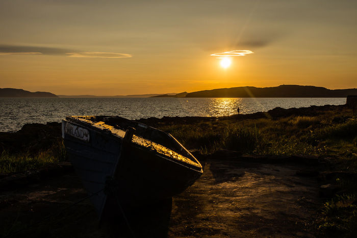 Portencross Sunset Scotland Beach Beauty In Nature Boat Cloud - Sky Coast Land Landscape Nature Nautical Vessel No People Orange Color Rowboat Scenics - Nature Sea Sky Sun Sunset Tranquil Scene Tranquility Water The Great Outdoors - 2018 EyeEm Awards
