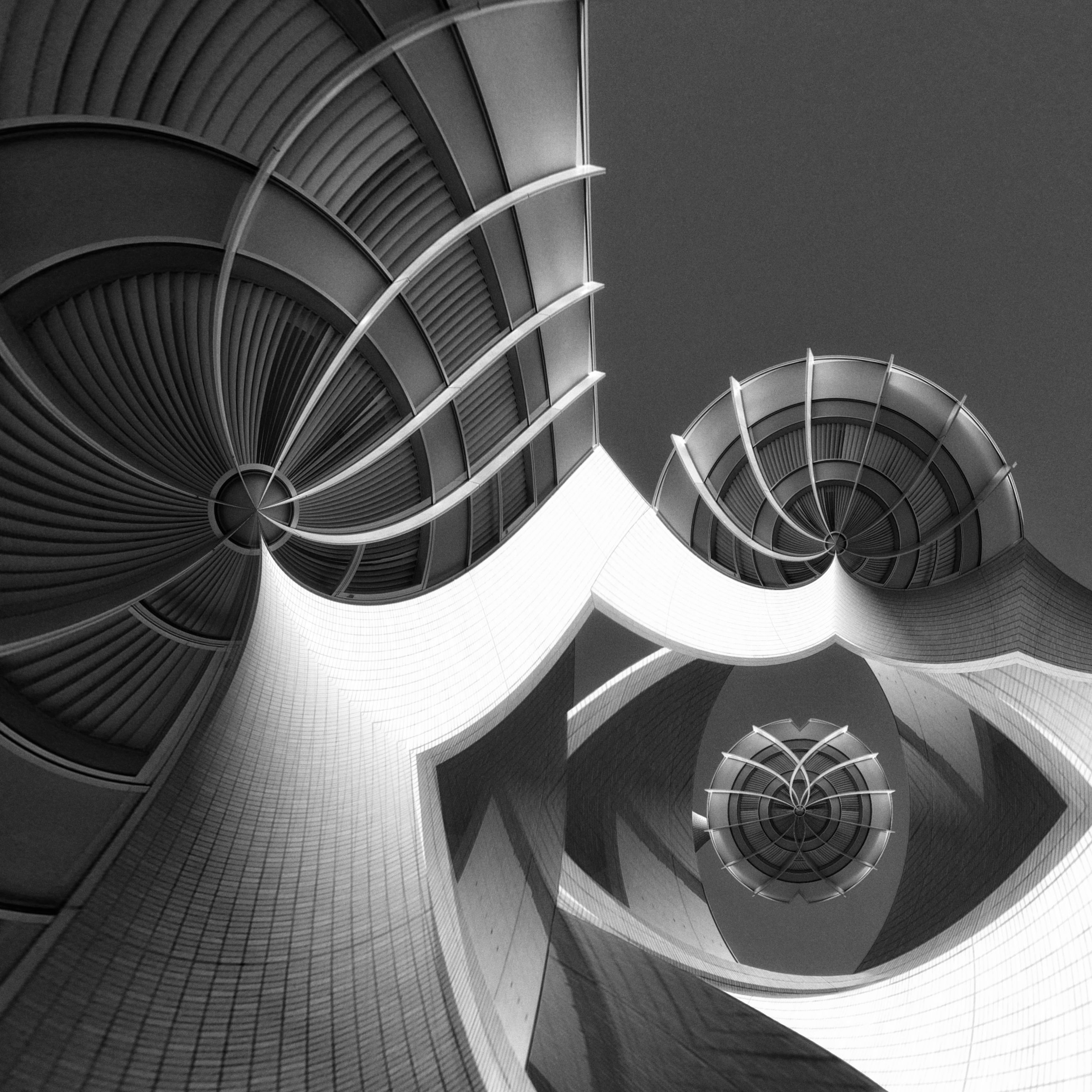 architecture, built structure, building exterior, pattern, low angle view, design, building, indoors, modern, no people, day, circle, city, spiral, close-up, sunlight, part of, window, metal