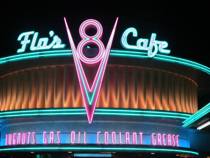 "The restaurant from the movie ""Cars"" by Disney, exists in real life in California!! Disneyland trip! Illuminated Text Neon Multi Colored No People Arts Culture And Entertainment Sign Black Background Cars Lightning Mcqueen Disney Movie Place Ryan Chamberlain EyeEmNewHere"