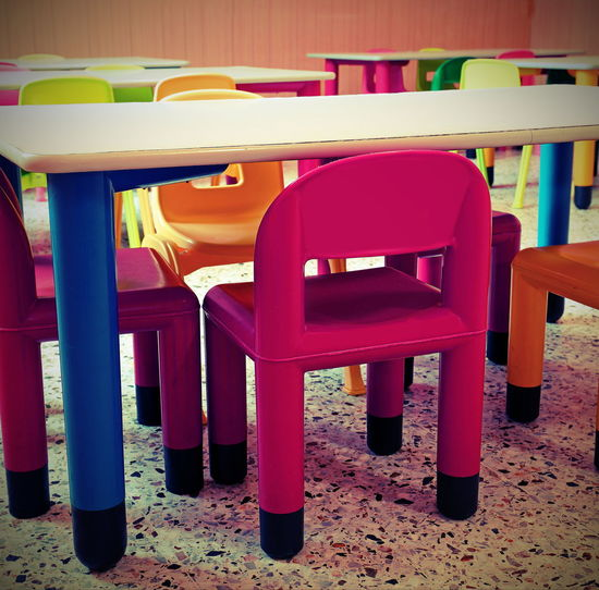 Empty chairs and tables in restaurant