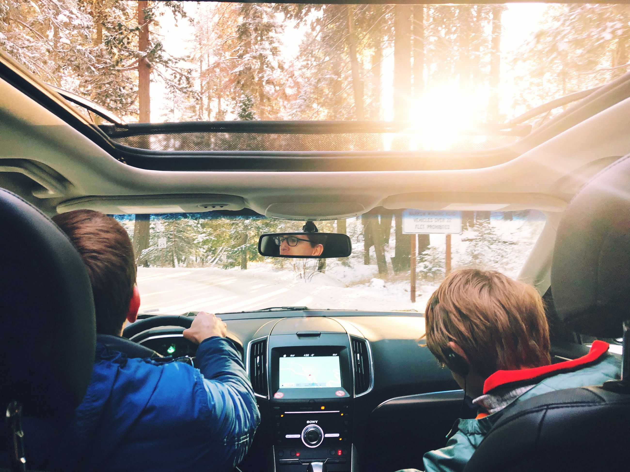 mode of transportation, transportation, vehicle interior, car, land vehicle, rear view, motor vehicle, real people, glass - material, travel, men, windshield, driving, tree, lifestyles, car interior, two people, transparent, day, nature, outdoors, road trip