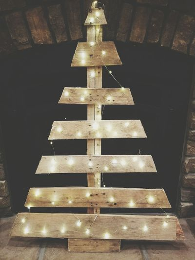 Christmas Tree Indoors  No People Christmas Wooden Tree Palletproject Light String Of Lights String Lights Home Decor Decoration