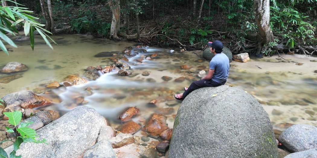 Rear View Of Man Sitting On Rock By Stream In Forest