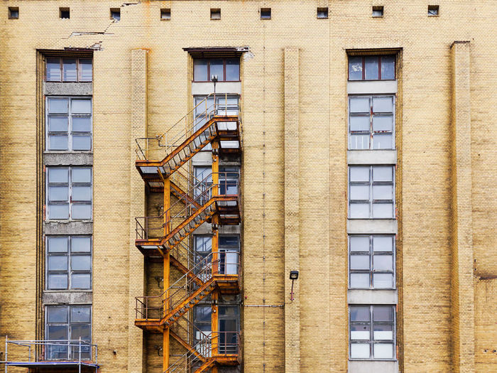 Oberschoeneweide Building Exterior Architecture Built Structure Fire Escape Building Window Staircase Safety Day Low Angle View Protection No People Residential District Security Steps And Staircases Outdoors Emergency Exit Wall Old Industrial Bricks Windows