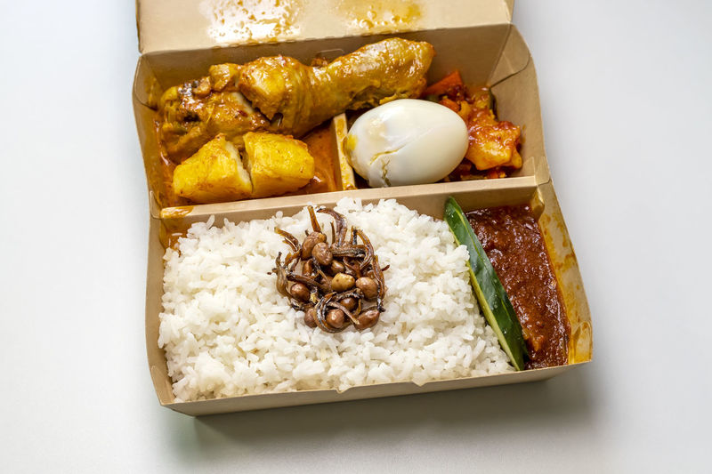 High angle view of breakfast in box