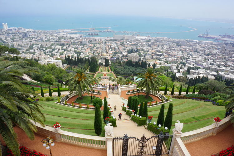 Bahai Garden, Haifa, Israel Bahai Bahai Gardens Haifa Israel Mount Carmel Sea View Mediterranean Sea Scenery Sony Alpha Sony A6000 Architecture Built Structure City High Angle View Tree Nature Sky Cityscape Plant Building No People Outdoors Water Landscape Travel Destinations