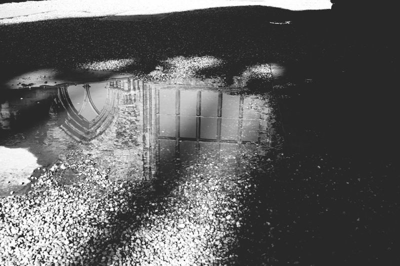 Reflection Puddle Pebbles Shadow Cathedral Holyrood Palace Edinburgh Black And White Friday