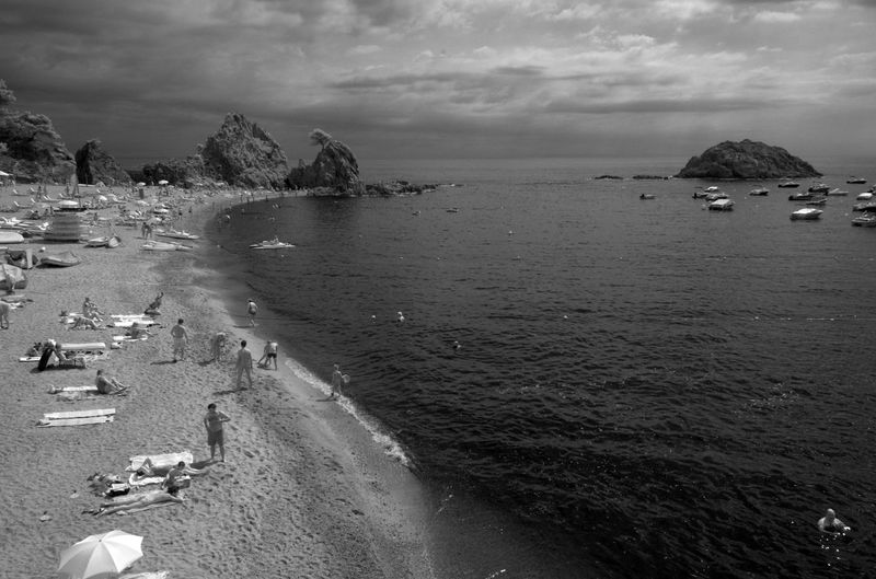 High Angle View Of People At Tossa De Mar Beach
