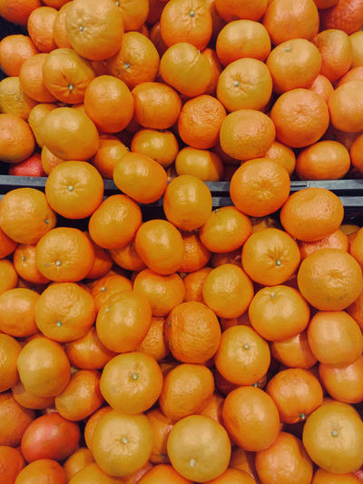 Full frame shot of clementines in market