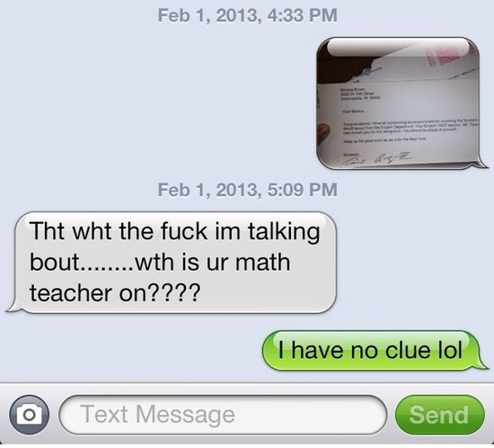 My moms reaction of me being student of the month again