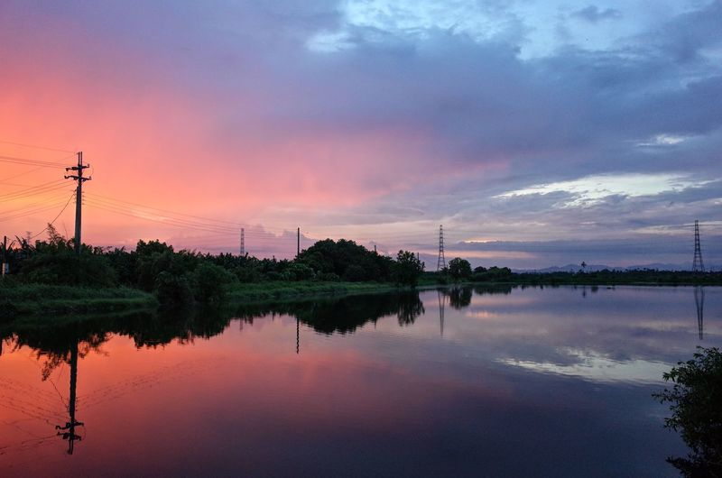Electricity Pylon Reflection Water Nature Outdoors Sunset
