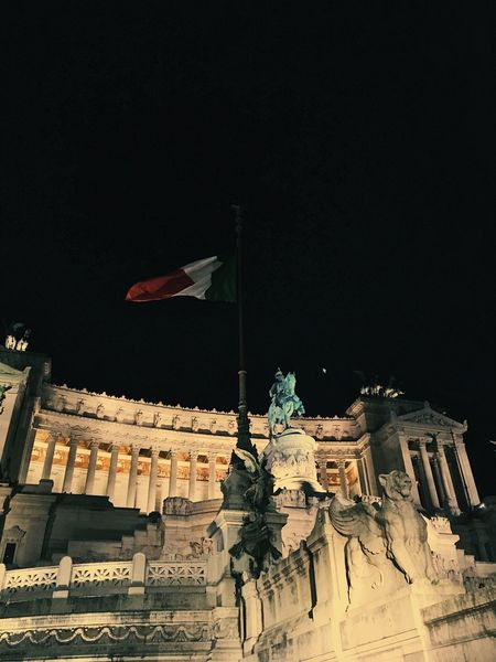Night scene in Rome of historic building. Architecture Building Exterior Flag Historic Building Italian Architecture Italy Lights Low-angle Shot Night Scene Old Buildings Rome Statue Tourist Attraction