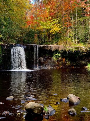 Fallcolors Waterfall Water Nature No People Plant Lake Tree Beauty In Nature Day Motion Waterfront Reflection Outdoors Rock Tranquility Scenics - Nature Sunlight Rock - Object Flowing Water