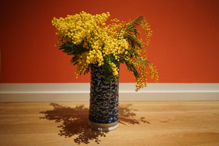 Close-up of vase on table against orange wall