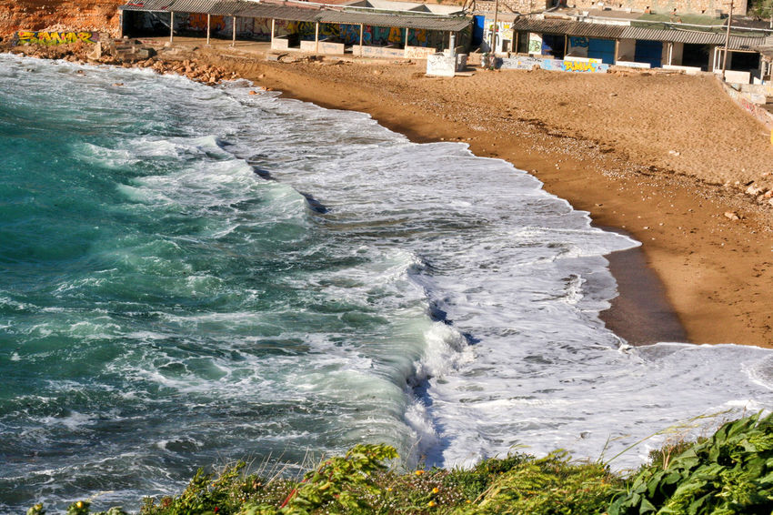 Beach Beauty In Nature Day Force Motion Nature No People Outdoors Power In Nature Rock - Object Sand Sand & Sea Sea Sheds Water Waterfront Wave Waves Waves Crashing Waves Rolling In