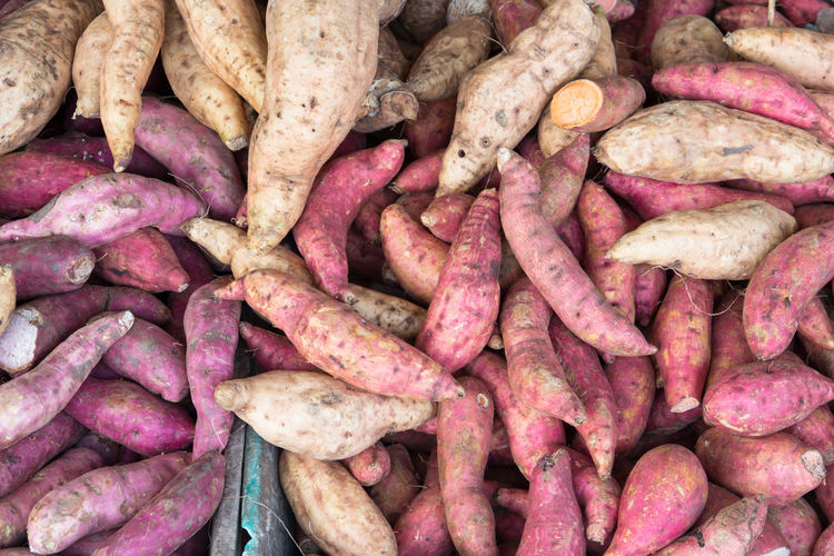 sweet potato in market Abundance Backgrounds Consumerism Day Food Food And Drink Freshness Full Frame Healthy Eating High Angle View Large Group Of Objects Market No People Organic Purple Raw Food Root Vegetable Still Life Sweet Potato Vegetable Vegetarian Food Wellbeing