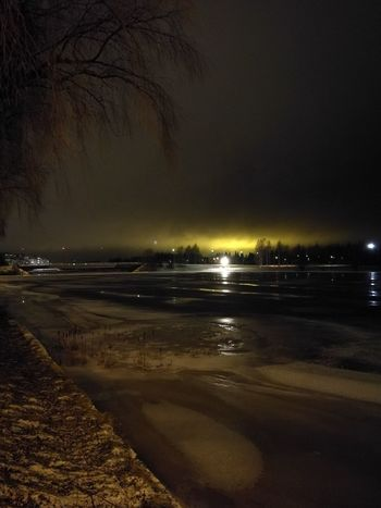 Iced River ❄ Faraway Fireball Tree Silhouette