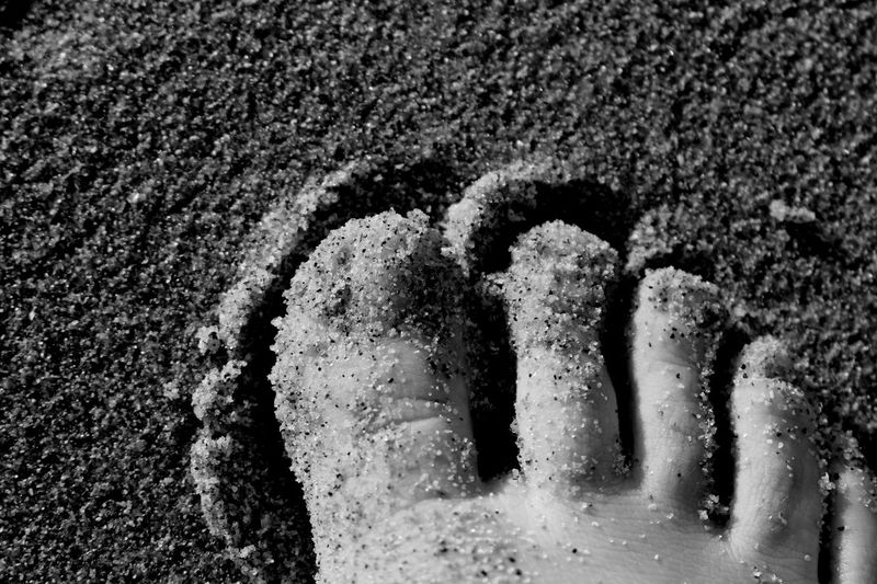 Barefoot Beach Black And White Blackandwhite Close Up Close-up Detail Exceptional Photographs Extreme Close-up Eye4photography  EyeEm Best Shots EyeEm Best Shots - Black + White EyeEmBestPics Foot From My Point Of View High Angle View Low Section Maximum Closeness Monochrome Outdoors Personal Perspective Perspective Sand That's Me Toes