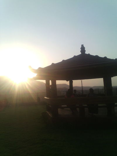Sun Sunset Silhouette Sunlight Beauty In Nature Nature Outdoors Scenics Sky Park Public Park Gazebo Gazebo At The Park Incidental People