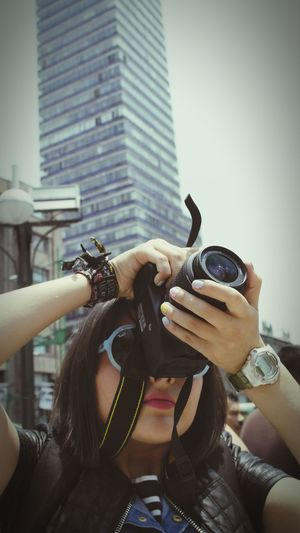 City Lifestyles Real People Young Adult Leisure Activity Photographer Camera - Photographic Equipment Torre Latino Mexico City Glassesgirl Uniqueness Women Around The World