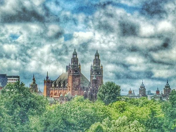 Architecture Built Structure Building Exterior Place Of Worship Sky Cloud - Sky Tree History Travel Destinations Day Eyeem Scotland  Scotland Eye Em Scotland GLASGOW CITY Kelvingrove Park KelvingroveArtGalleries Clouds And Sky Cloud Spirituality Green Color Outdoors Plant Nature City